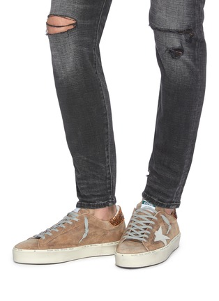 Figure View - Click To Enlarge - GOLDEN GOOSE - 'Hi Star' snake embossed collar suede flatform sneakers