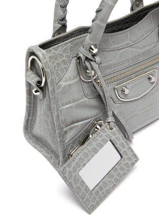 Detail View - Click To Enlarge - BALENCIAGA - 'Classic City' mini croc embossed leather shoulder bag