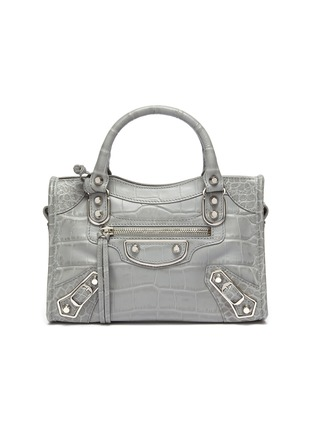 Main View - Click To Enlarge - BALENCIAGA - 'Classic City' mini croc embossed leather shoulder bag