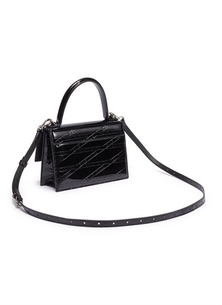 Detail View - Click To Enlarge - BALENCIAGA - 'Sharp XS' logo embossed patent leather shoulder bag