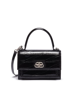 Main View - Click To Enlarge - BALENCIAGA - 'Sharp XS' logo embossed patent leather shoulder bag