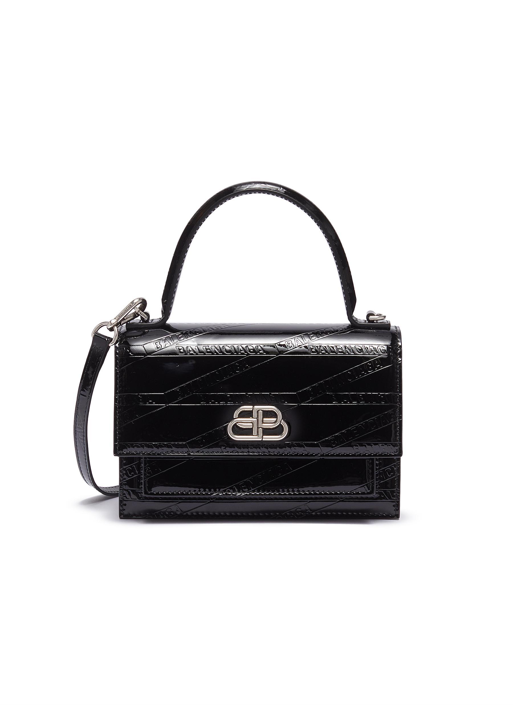 Balenciaga 'Sharp Xs' Logo Embossed Patent Leather Shoulder Bag In Black Logo Embossed
