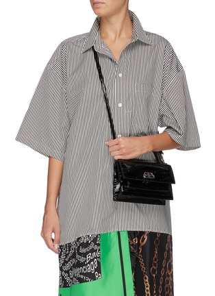 Figure View - Click To Enlarge - BALENCIAGA - 'Sharp XS' logo embossed patent leather shoulder bag