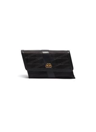 Main View - Click To Enlarge - BALENCIAGA - 'Shift' leather trim monogram jacquard crossbody bag