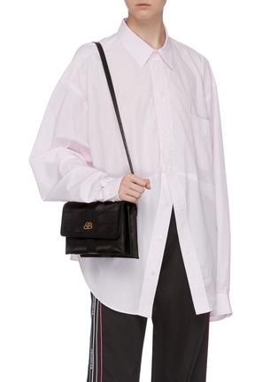 Figure View - Click To Enlarge - BALENCIAGA - 'Shift' leather trim monogram jacquard crossbody bag