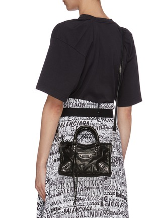 Front View - Click To Enlarge - BALENCIAGA - 'Classic City' nano lizard embossed leather shoulder bag
