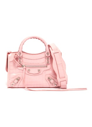Main View - Click To Enlarge - BALENCIAGA - 'Classic City' croc-embossed mini leather shoulder bag