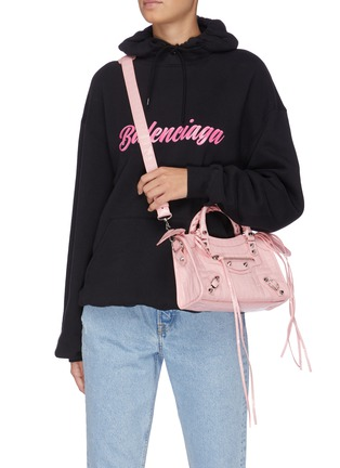Figure View - Click To Enlarge - BALENCIAGA - 'Classic City' croc-embossed mini leather shoulder bag