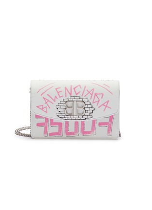 Main View - Click To Enlarge - BALENCIAGA - 'BB' graffiti print leather wallet on chain