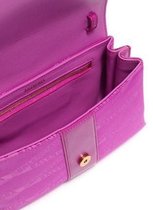 Detail View - Click To Enlarge - BALENCIAGA - 'Shift' leather trim monogram jacquard wallet on strap