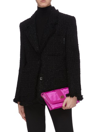Front View - Click To Enlarge - BALENCIAGA - 'Shift' leather trim monogram jacquard wallet on strap
