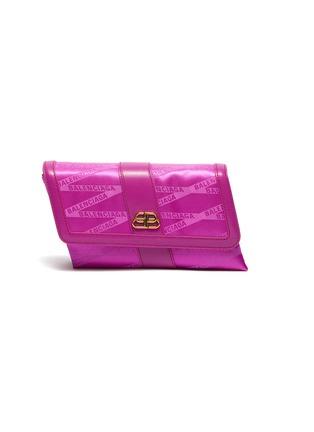 Main View - Click To Enlarge - BALENCIAGA - 'Shift' leather trim monogram jacquard wallet on strap