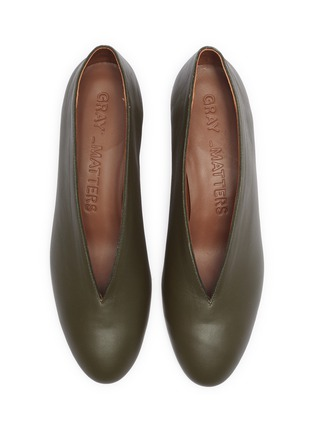 Detail View - Click To Enlarge - GRAY MATTERS - Egg heel choked-up leather pumps