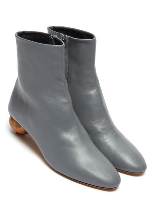 Detail View - Click To Enlarge - GRAY MATTERS - Egg heel leather ankle boots