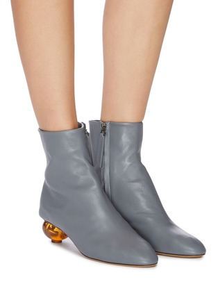 Figure View - Click To Enlarge - GRAY MATTERS - Egg heel leather ankle boots