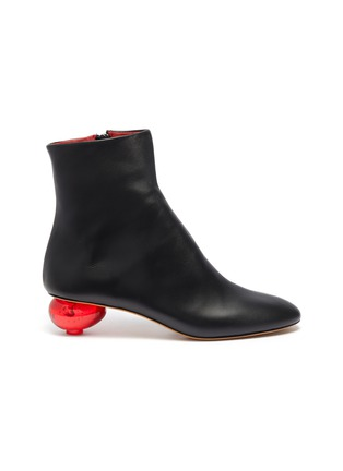 Main View - Click To Enlarge - GRAY MATTERS - Egg heel leather ankle boots