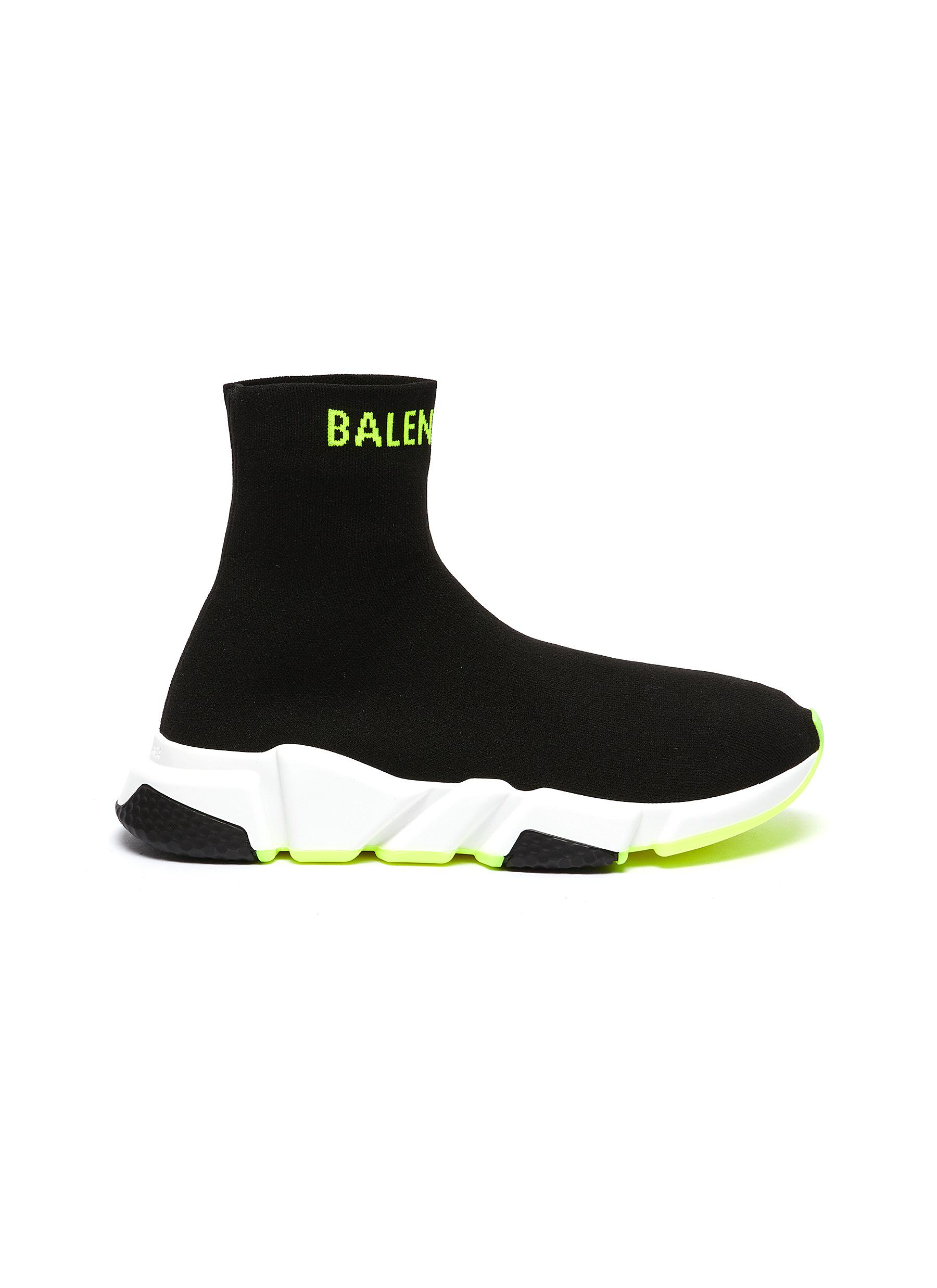 Speed logo cuff knit slip-on sneakers by Balenciaga