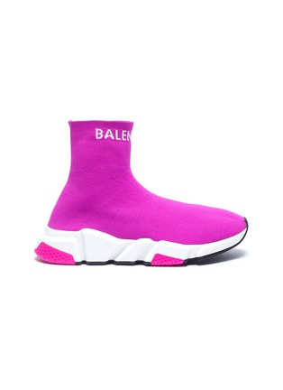 Main View - Click To Enlarge - BALENCIAGA - 'Speed' logo cuff knit slip-on sneakers