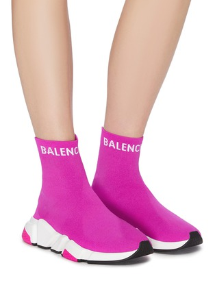 Figure View - Click To Enlarge - BALENCIAGA - 'Speed' logo cuff knit slip-on sneakers