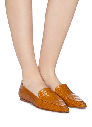 Figure View - Click To Enlarge - AEYDE - 'Aurora' croc embossed leather loafers