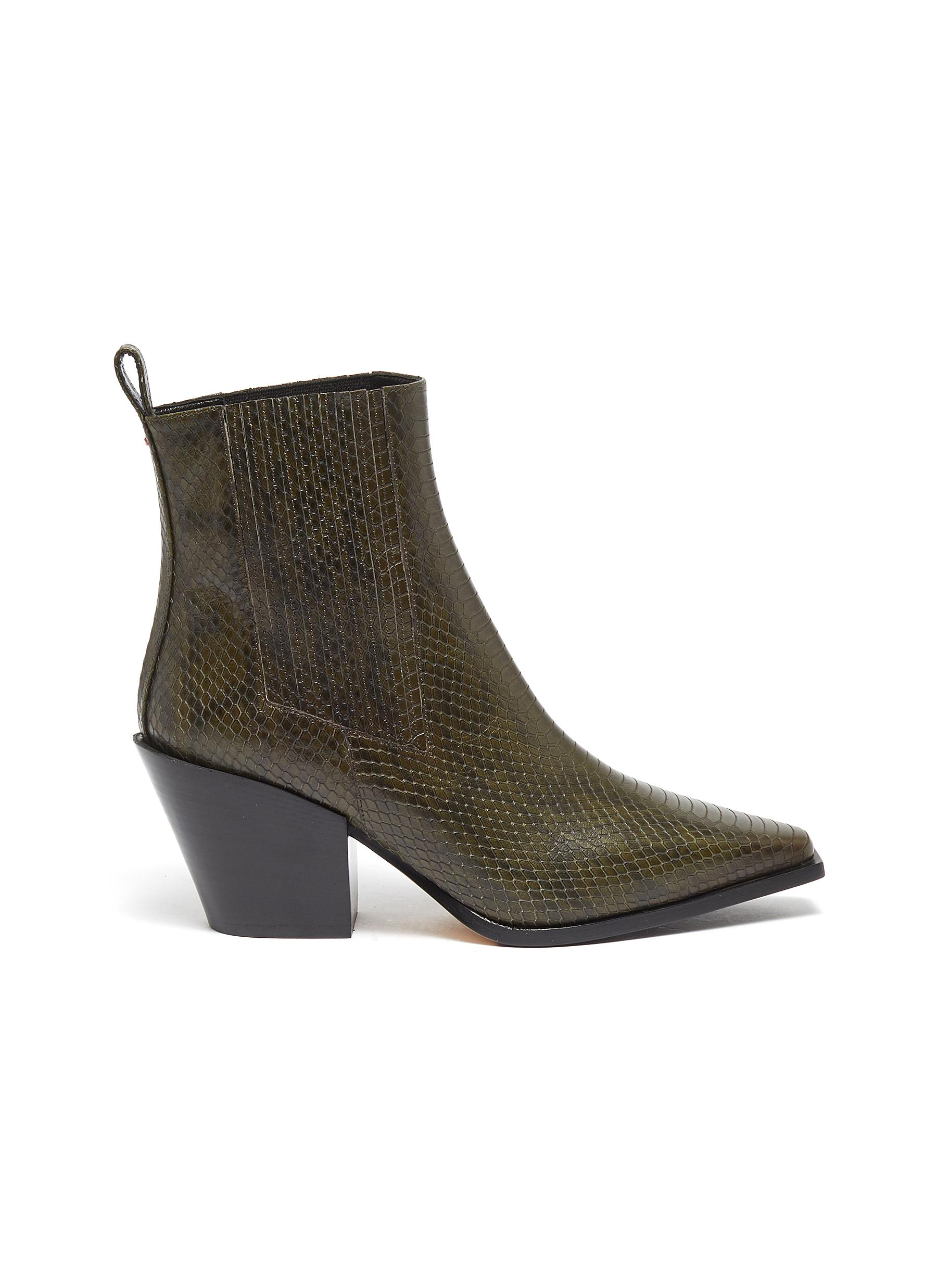Kate snake embossed leather ankle boots by Aeyde
