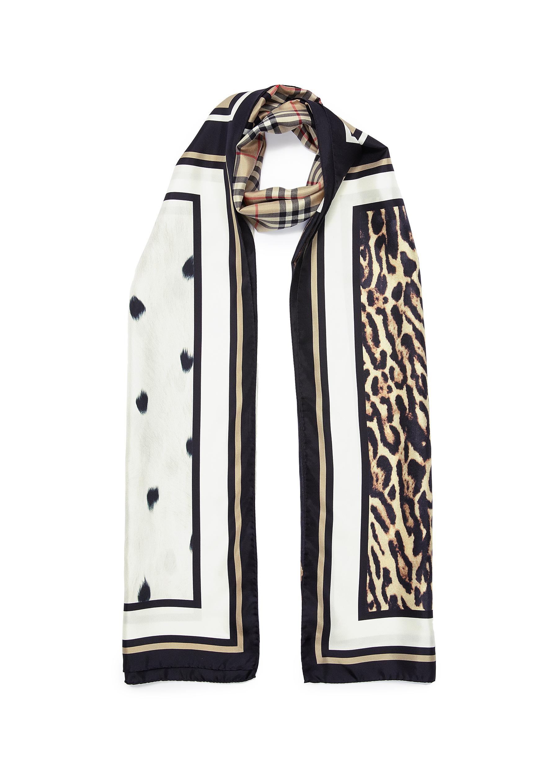 0762aa289a6 BURBERRY | Vintage check animal print panel silk twill scarf | Women ...