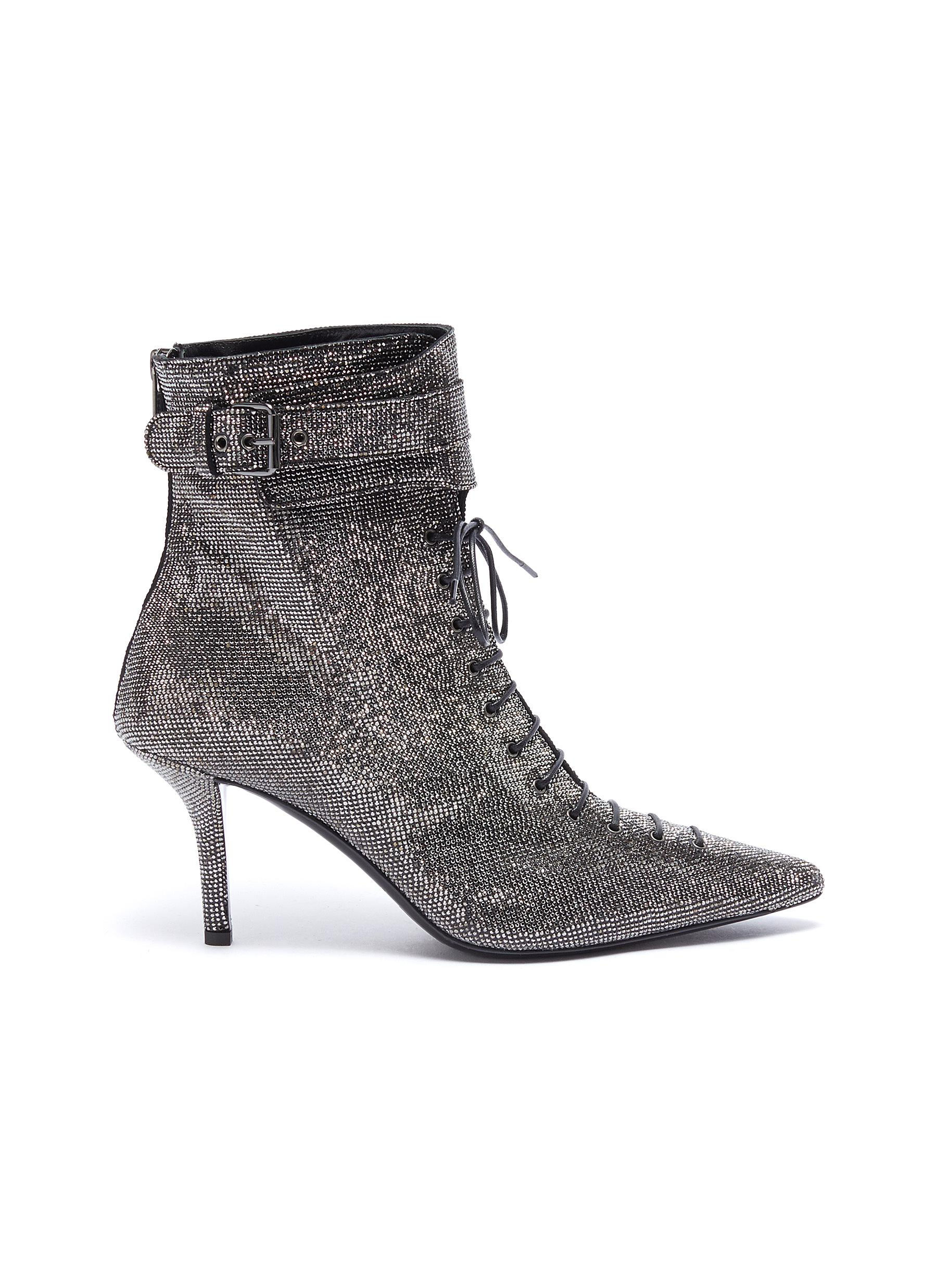 Belted cuff strass lace-up ankle boots by Philosophy Di Lorenzo Serafini