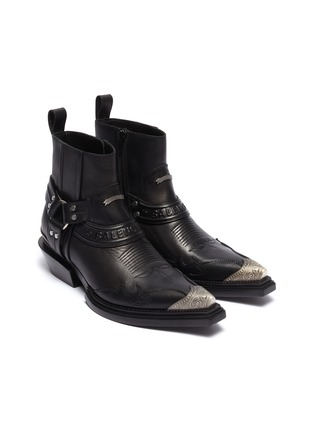 Detail View - Click To Enlarge - BALENCIAGA - 'Santiag' metal toe cap leather ankle boots