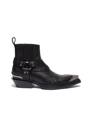Main View - Click To Enlarge - BALENCIAGA - 'Santiag' metal toe cap leather ankle boots