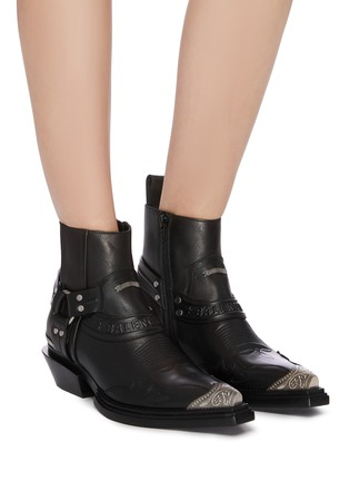 Figure View - Click To Enlarge - BALENCIAGA - 'Santiag' metal toe cap leather ankle boots