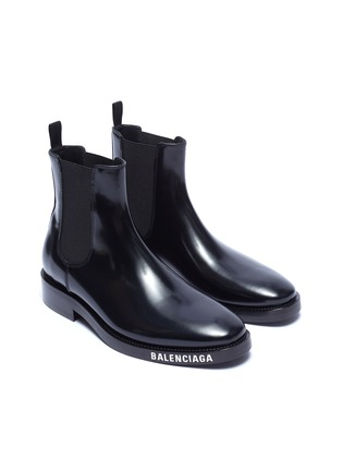 Detail View - Click To Enlarge - BALENCIAGA - Logo print outsole leather Chelsea boots