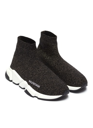 Detail View - Click To Enlarge - BALENCIAGA - 'Speed' metallic knit slip-on sneakers