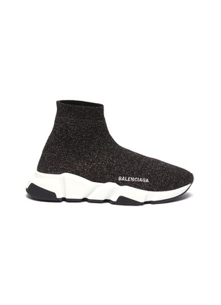 Main View - Click To Enlarge - BALENCIAGA - 'Speed' metallic knit slip-on sneakers