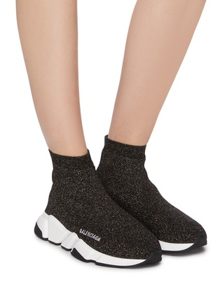 Figure View - Click To Enlarge - BALENCIAGA - 'Speed' metallic knit slip-on sneakers