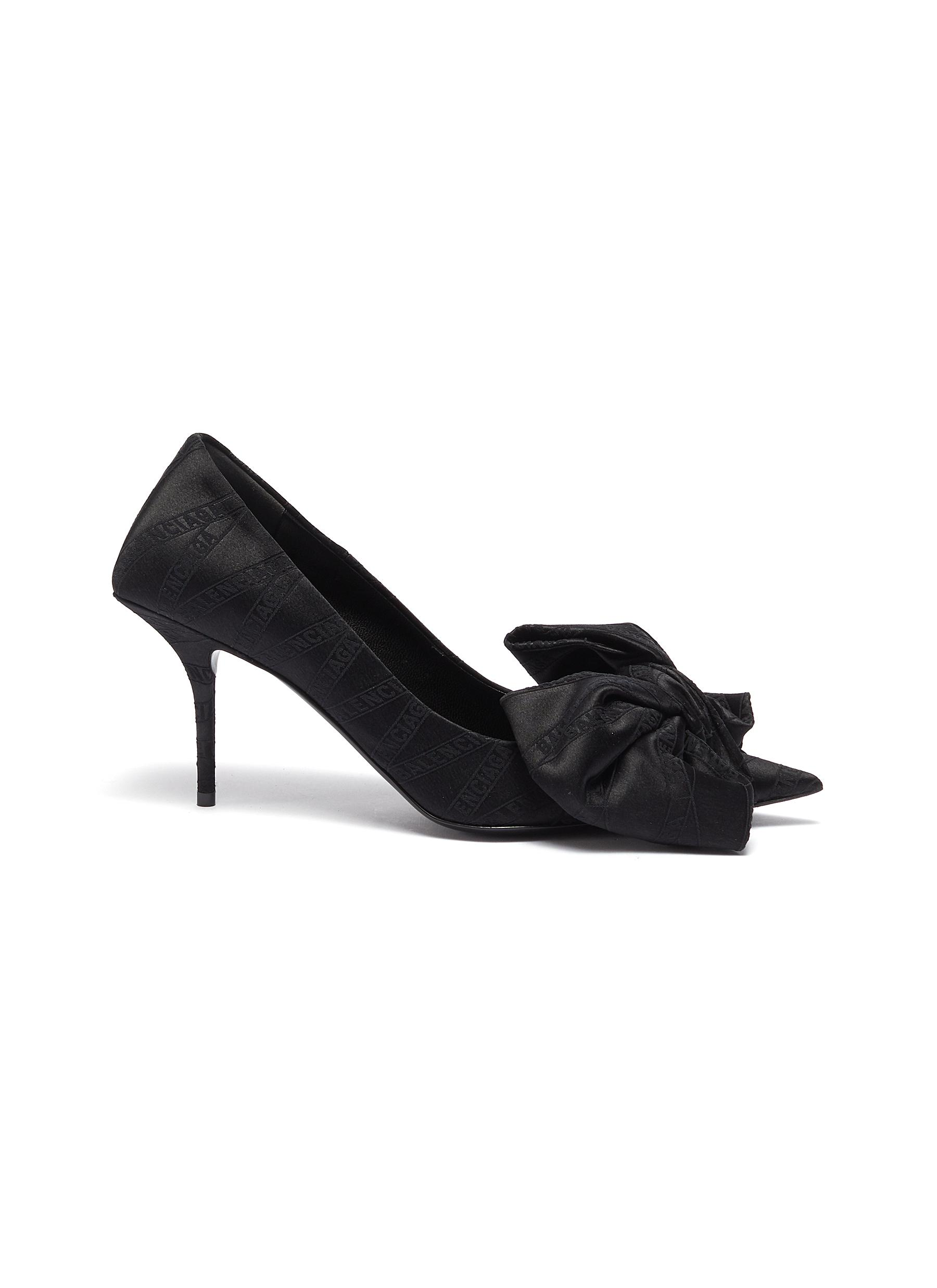 Square Knife Bow moniker jacquard pumps by Balenciaga