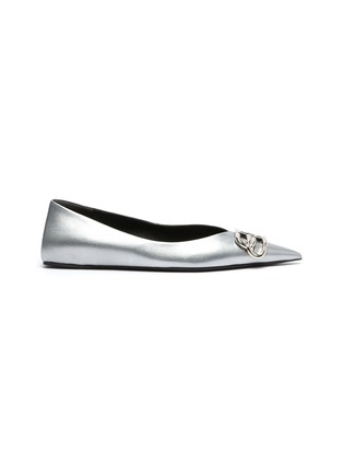 Main View - Click To Enlarge - BALENCIAGA - 'Knife' logo plaque metallic leather flats