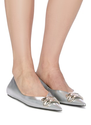 Figure View - Click To Enlarge - BALENCIAGA - 'Knife' logo plaque metallic leather flats