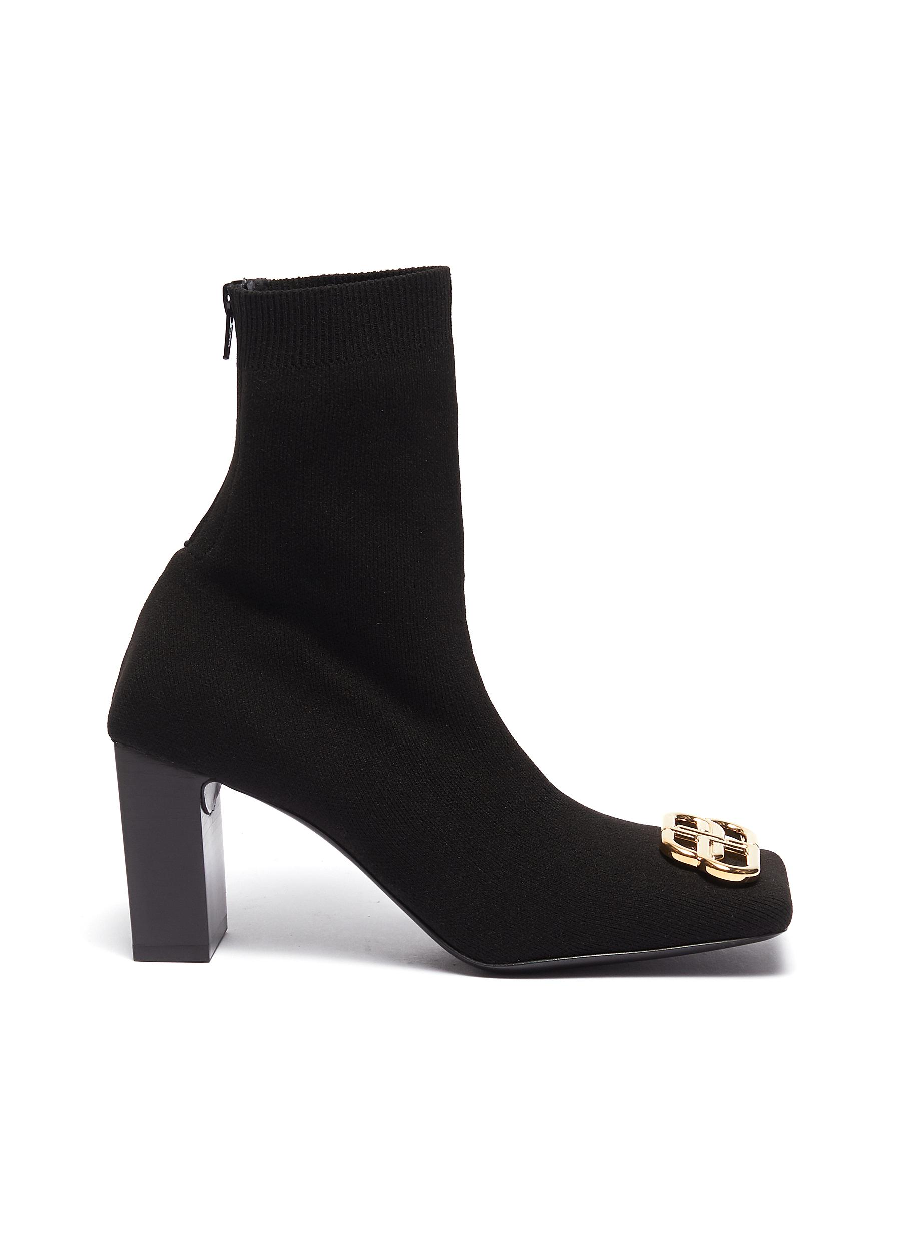 Balenciaga Boots 'Double Square' logo plaque knit ankle boots