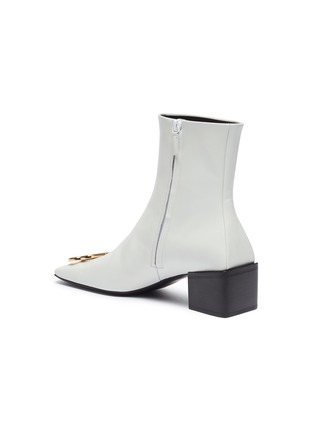- BALENCIAGA - 'Double Square' logo plaque leather ankle boots