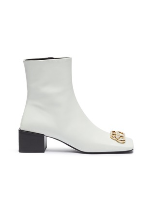 Main View - Click To Enlarge - BALENCIAGA - 'Double Square' logo plaque leather ankle boots