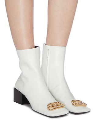 Figure View - Click To Enlarge - BALENCIAGA - 'Double Square' logo plaque leather ankle boots