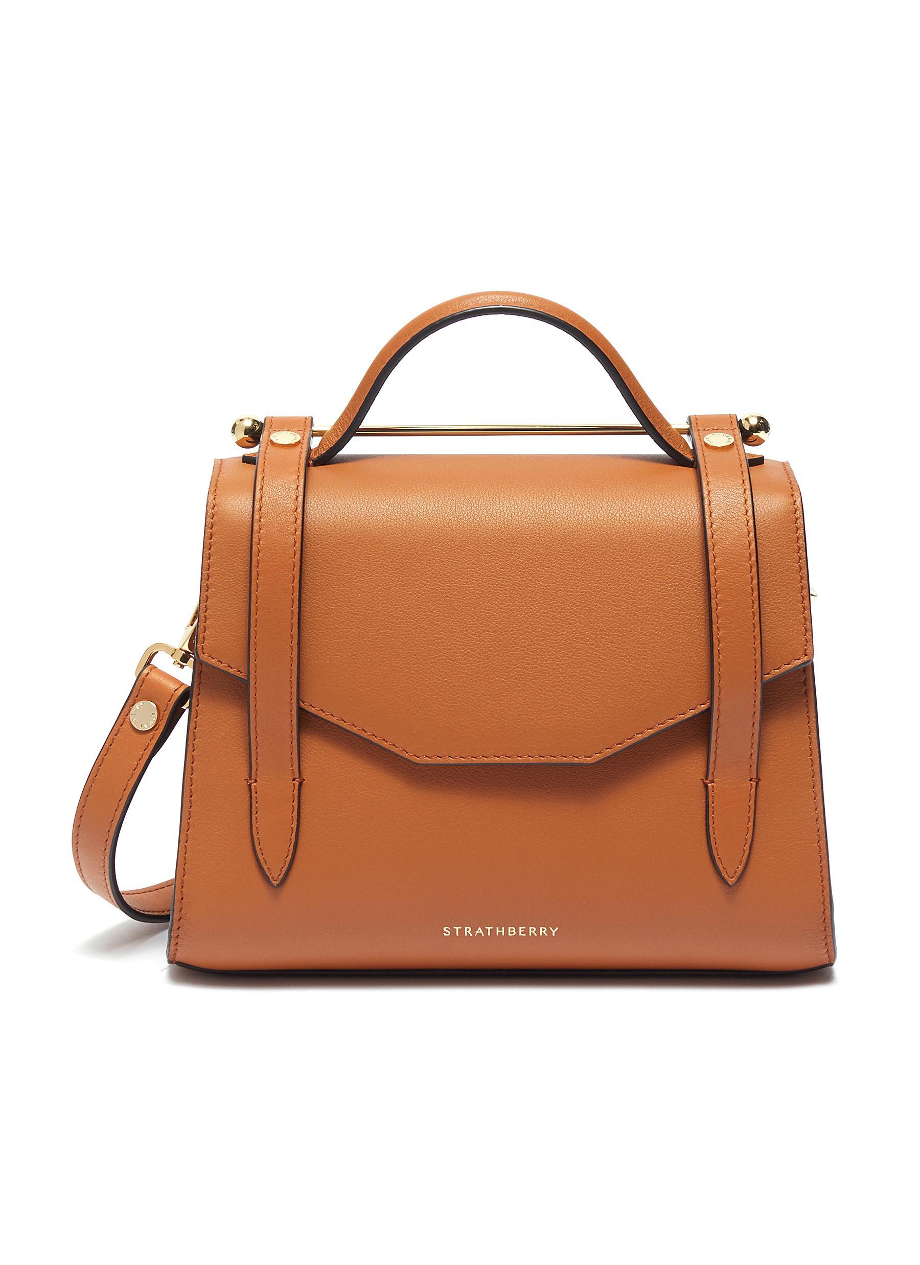 Strathberry 'Allegro Mini' Leather Satchel In Tan