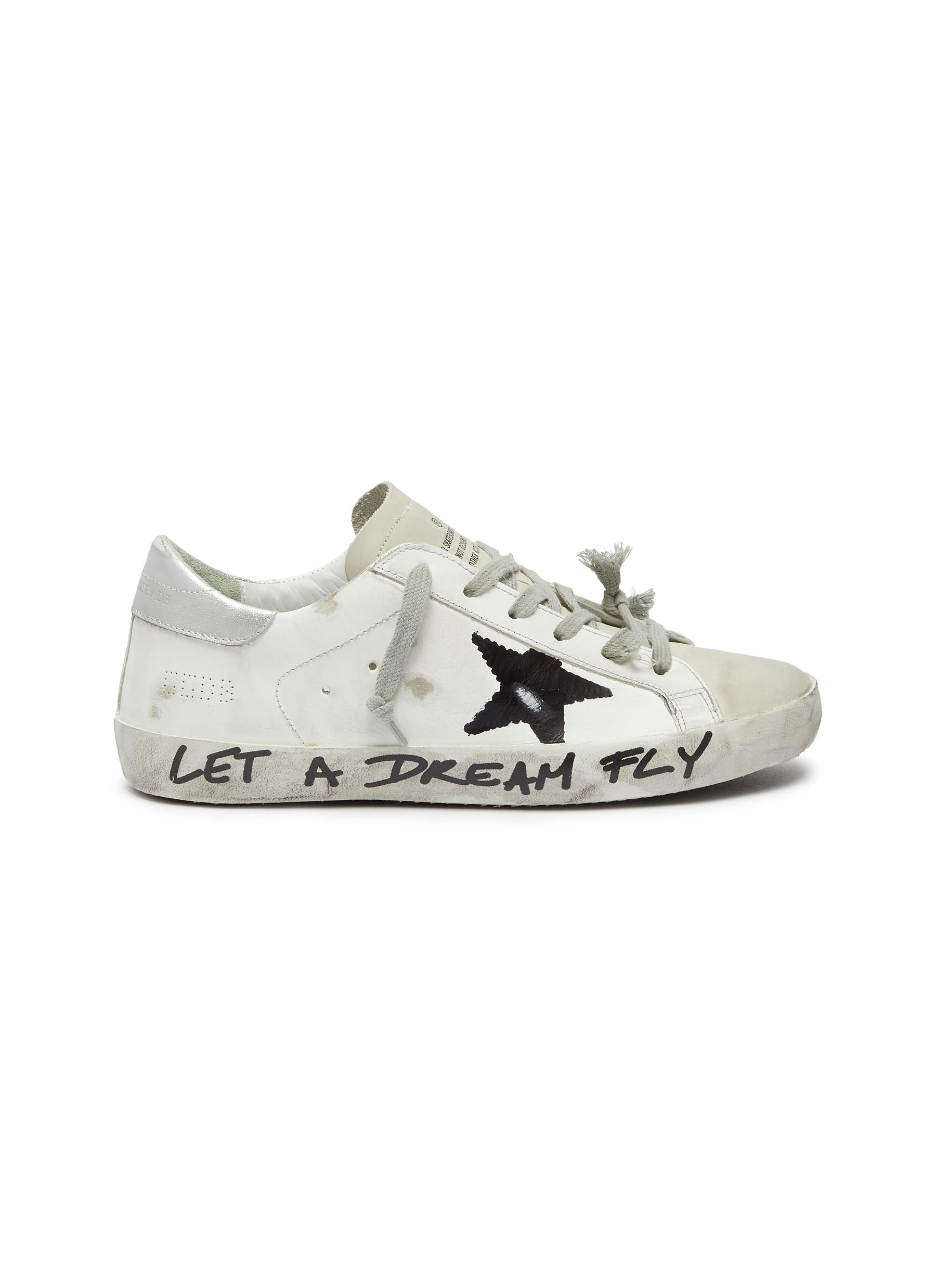 Superstar slogan print outsole leather sneakers by Golden Goose