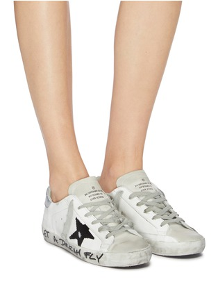 Figure View - Click To Enlarge - GOLDEN GOOSE - 'Superstar' slogan print outsole leather sneakers