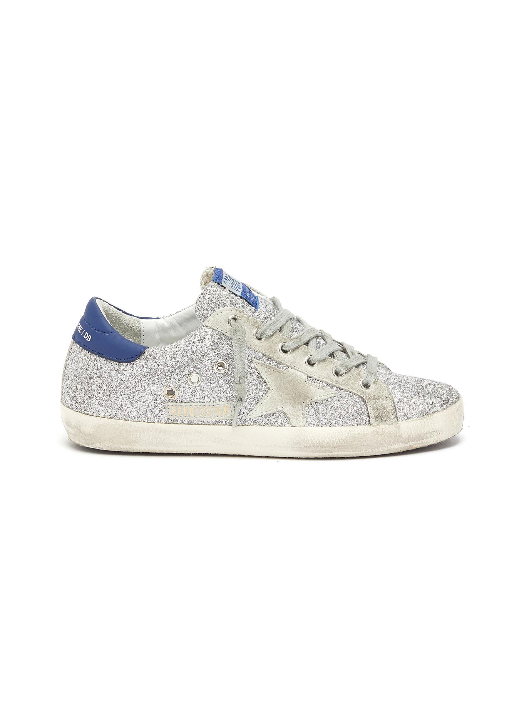 Superstar suede panel glitter sneakers by Golden Goose