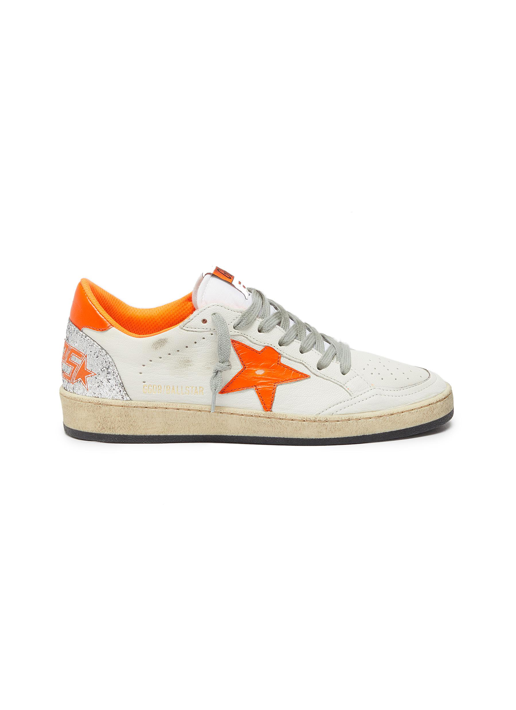 Ball Star glitter counter leather sneakers by Golden Goose