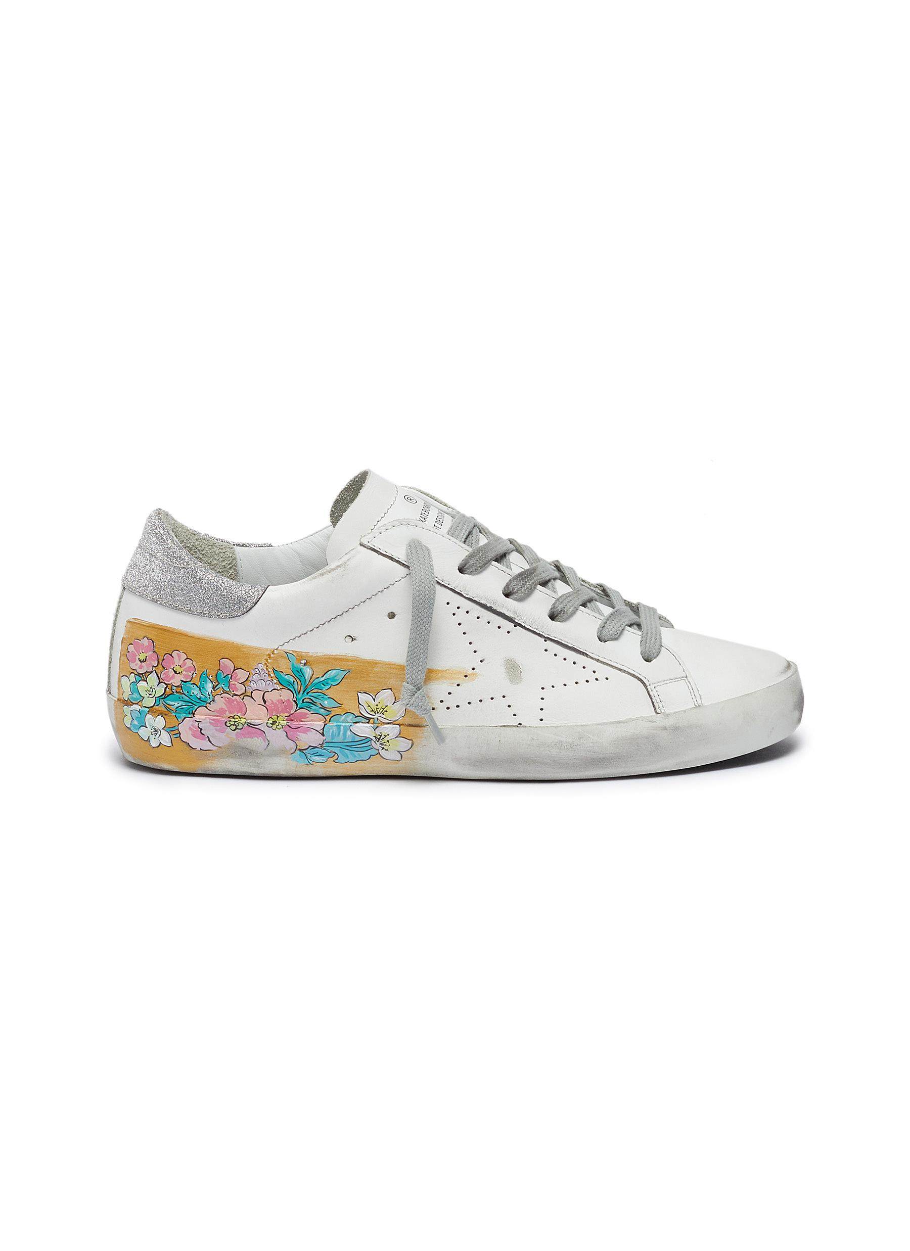 Superstar painted flower glitter panel leather sneakers by Golden Goose
