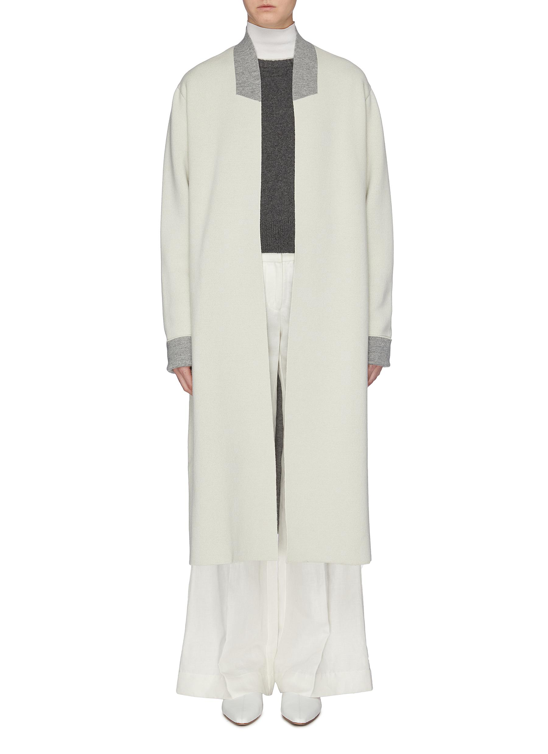 Colourblock trim wool-cashmere knit coat by Jil Sander