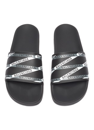Detail View - Click To Enlarge - BALENCIAGA - Logo tape print rubber pool slides