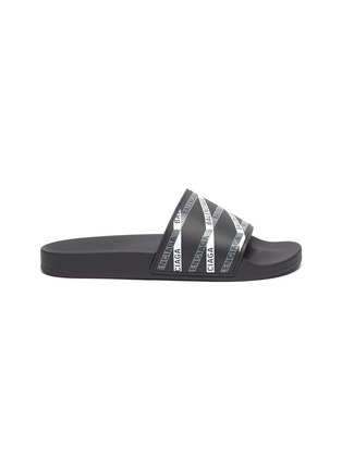 Main View - Click To Enlarge - BALENCIAGA - Logo tape print rubber pool slides